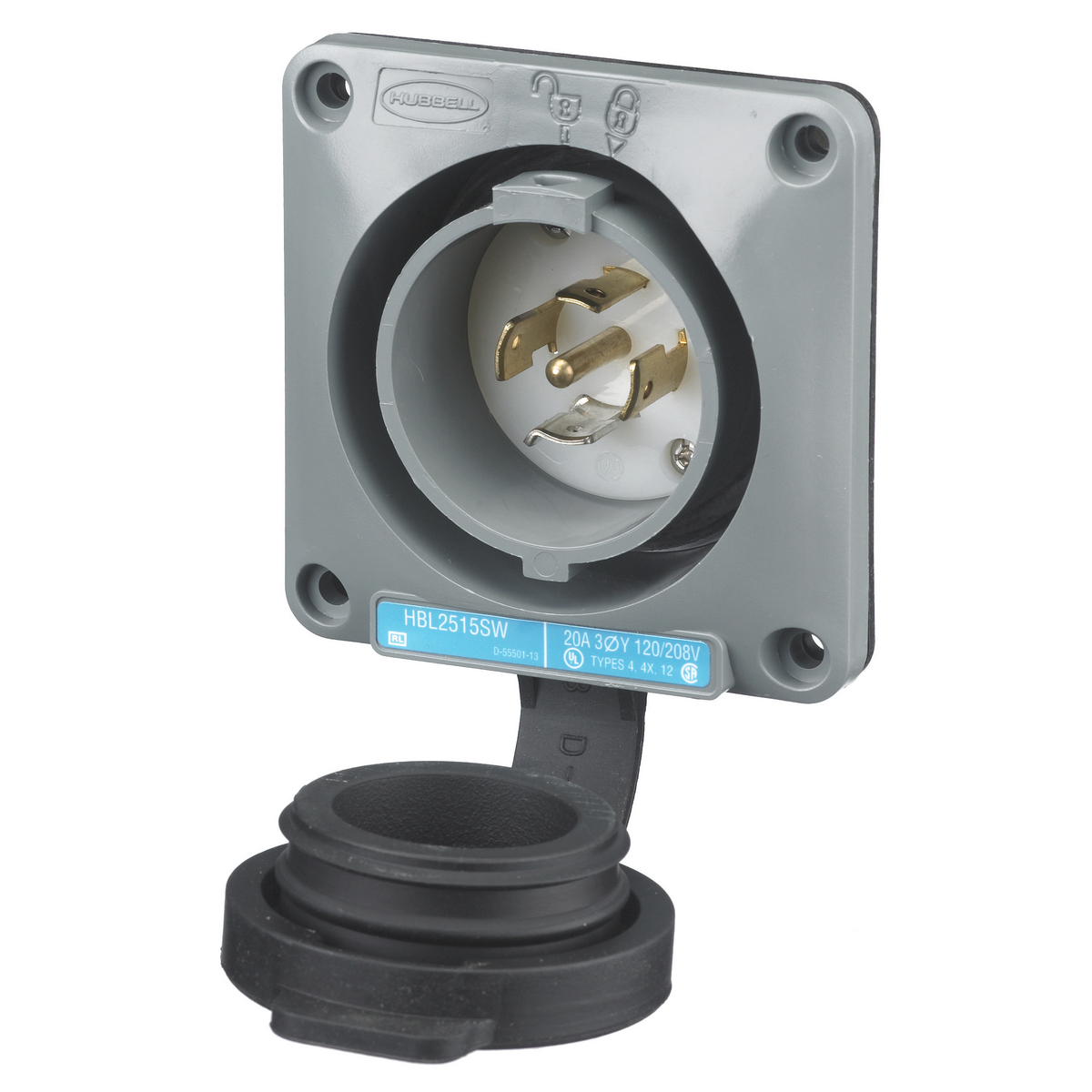Hubbell Twist-Lock Flanged Receptacle 3 Pole 4 Wire 20A 3ØY 120//208V AC