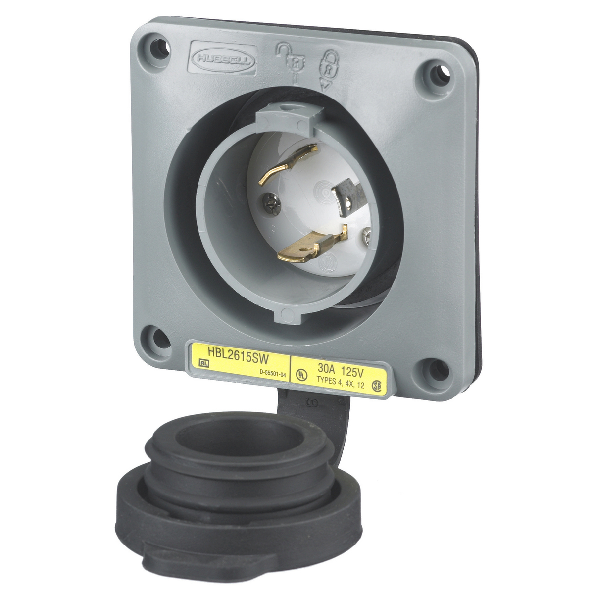 Hubbell HBL2615-SW 30A 125V Twist-Lock Watertight SAFETY-SHROUD Gray VALOX Flanged Inlet