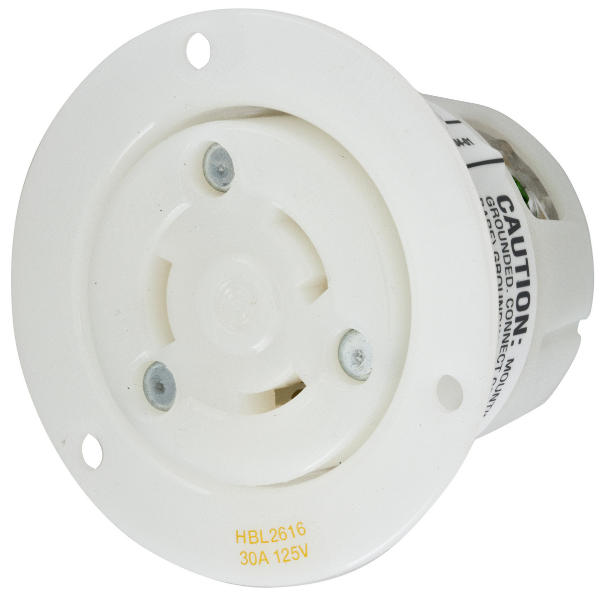 Hubbell HBL2616 30 Amp 125 Volt 2-Pole 3-Wire NEMA L5-30R White Locking Flanged Receptacle