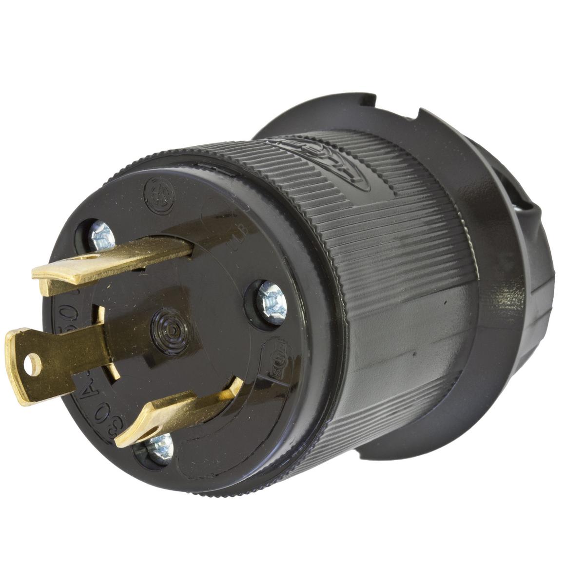Hubbell HBL2621BK Locking Plug, 30A 250V, L6-30P, BK