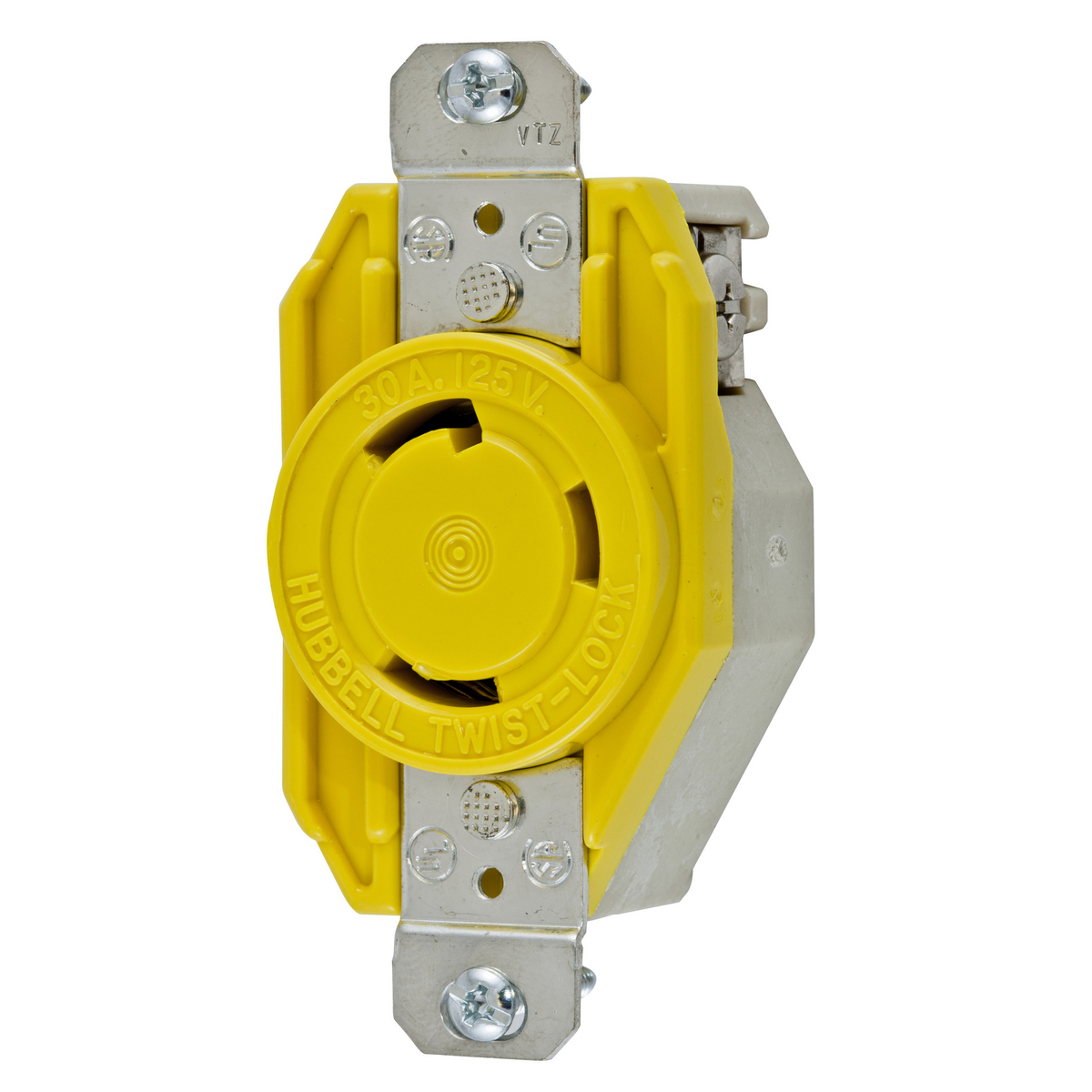 Hubbell HBL26CM10 30 Amp 125 Volt 2-Pole 3-Wire NEMA L5-30R Yellow Locking Receptacle