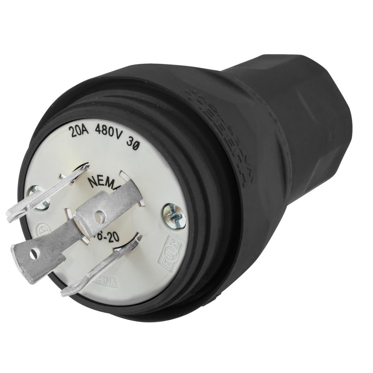 Hubbell HBL26W76BK Plug, w/TIGHT, 3P 20A 480V, L16-20P, BK