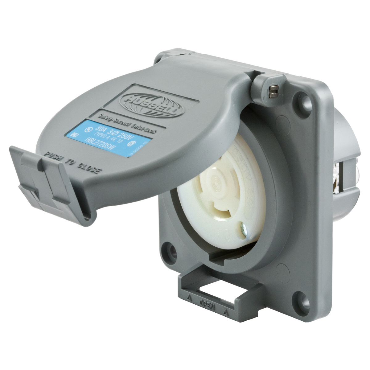 Hubbell HBL2720SW 30 Amp 250 Volt 3-Pole 4-Wire NEMA L15-30R Gray Watertight Locking Receptacle