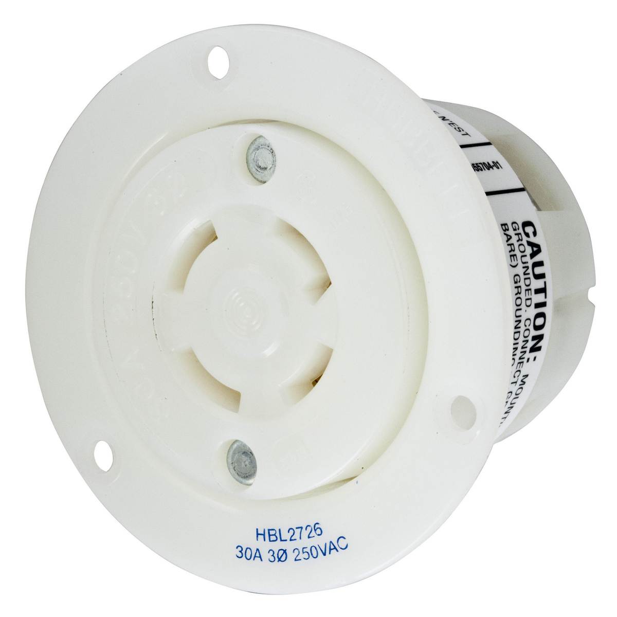 Hubbell HBL2726 30 Amp 250 Volt 3-Pole 4-Wire NEMA L15-30R White Locking Flanged Receptacle