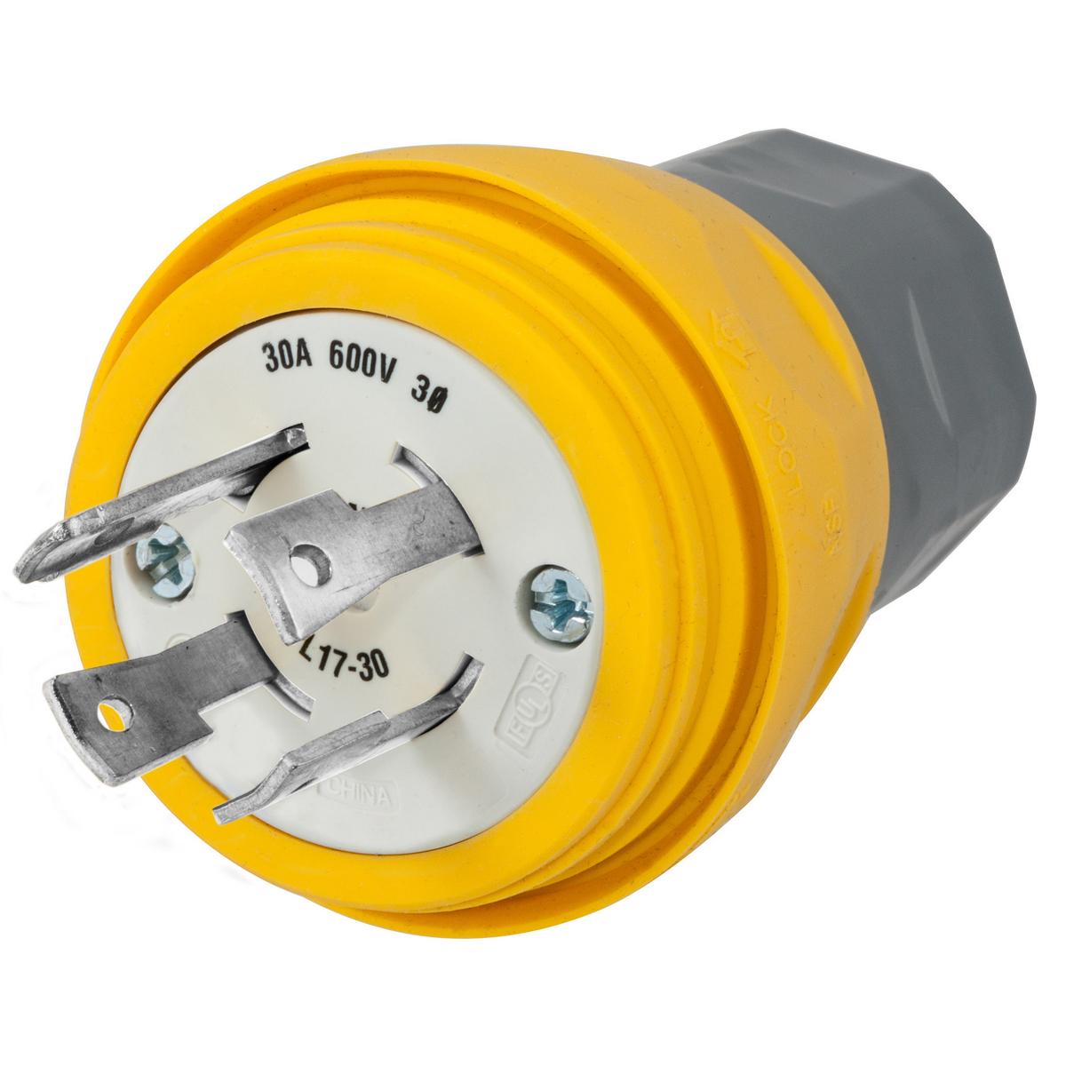 Hubbell HBL28W77 Plug, w/TIGHT, 3P 30A 600V, L17-30P, YL