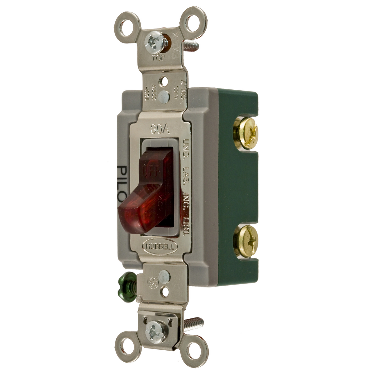 Hubbell HBL3032PL 30 Amp 120/277 VAC 2-Pole Red Toggle Switch