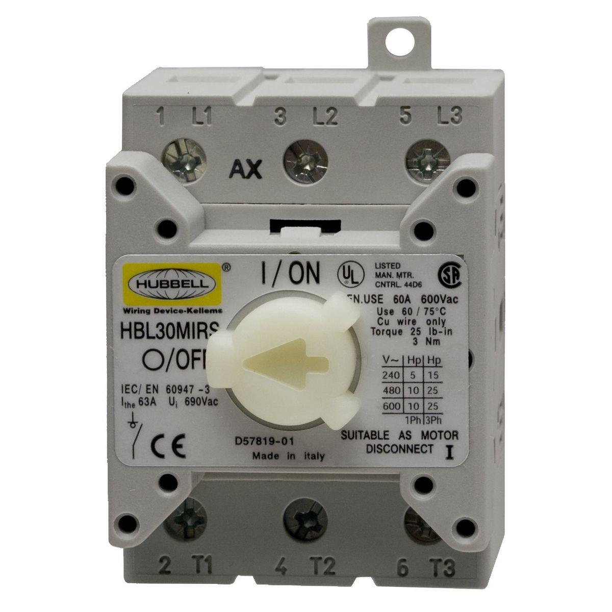 Hbl30mirs Brand Wiring Device Kellems Light Switch L1 L2 L3