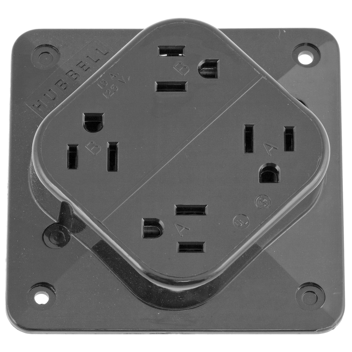 Hubbell HBL415GY 15 Amp 125 Volt 2-Pole 3-Wire NEMA 5-15R Gray Straight Blade Receptacle