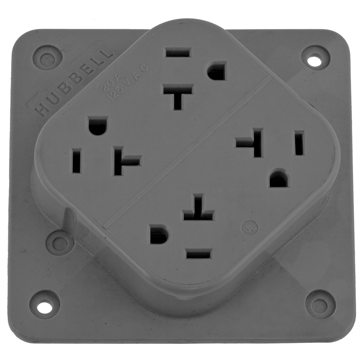 Hubbell HBL420GY4-PLEX Receptacle, 20A 125V, 5-20R, GY
