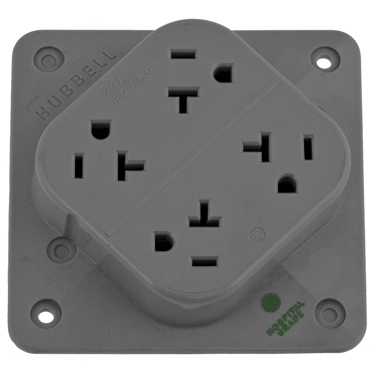 Hubbell HBL420HGY4-PLEX HG Receptacle, 20A 125V, 5-20R, GY