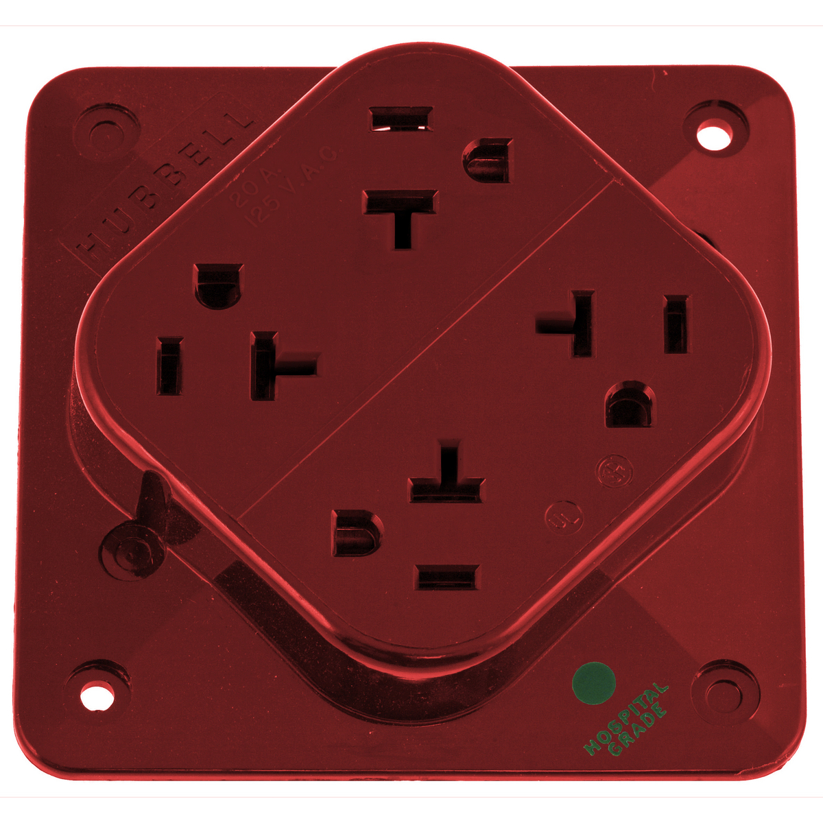 Hubbell HBL420HR 20 Amp 125 Volt 2-Pole 3-Wire NEMA 5-20R Red Straight Blade Receptacle