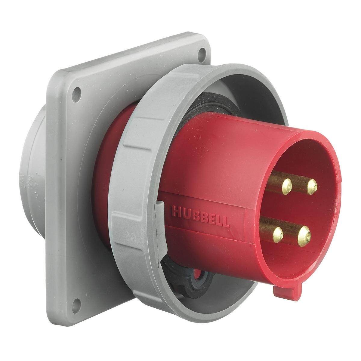 Hubbell HBL432B6W PS, IEC, INLET, 3P4W, 32A 380-415V, w/T