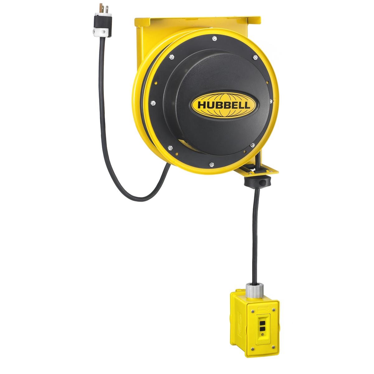 Hubbell HBL45123GF20CORD REEL w/GF MODULE, 45' 12/3, 20A