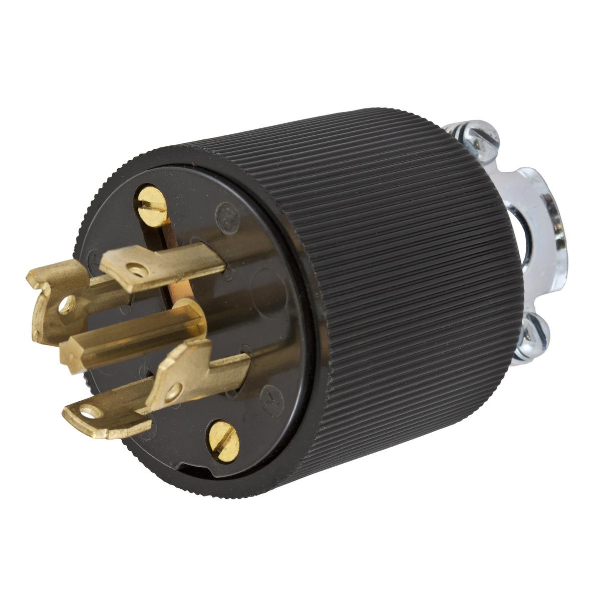 Hubbell HBL45315 30 Amp 600 Volt 4-Pole 5-Wire Black Locking Plug