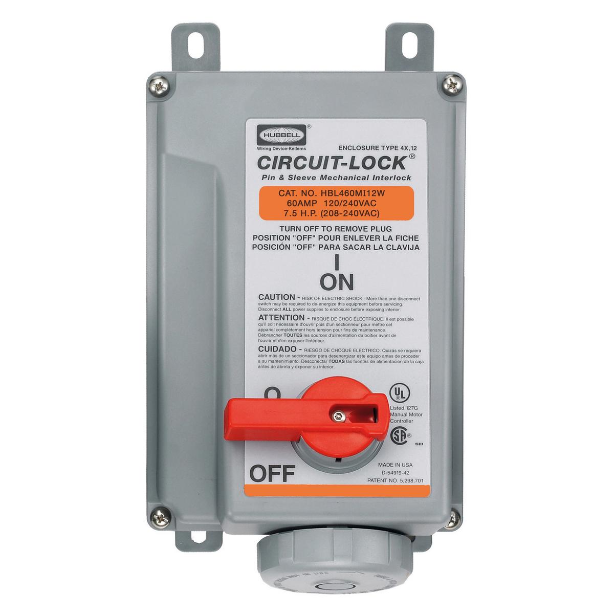 Hubbell HBL460MI12W 60 Amp 120/240 Volt 3-Pole 4-Wire Watertight IEC Pin and Sleeve Mechanical Interlock