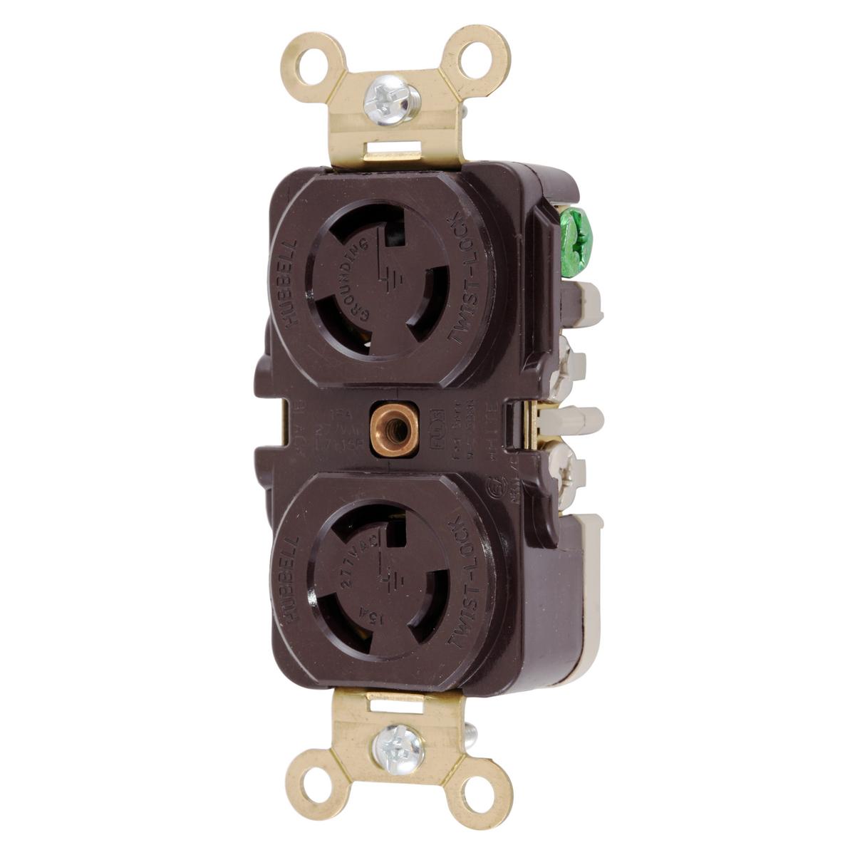 Hubbell HBL4750 15 Amp 277 VAC NEMA L7-15R Brown Duplex Locking Receptacle
