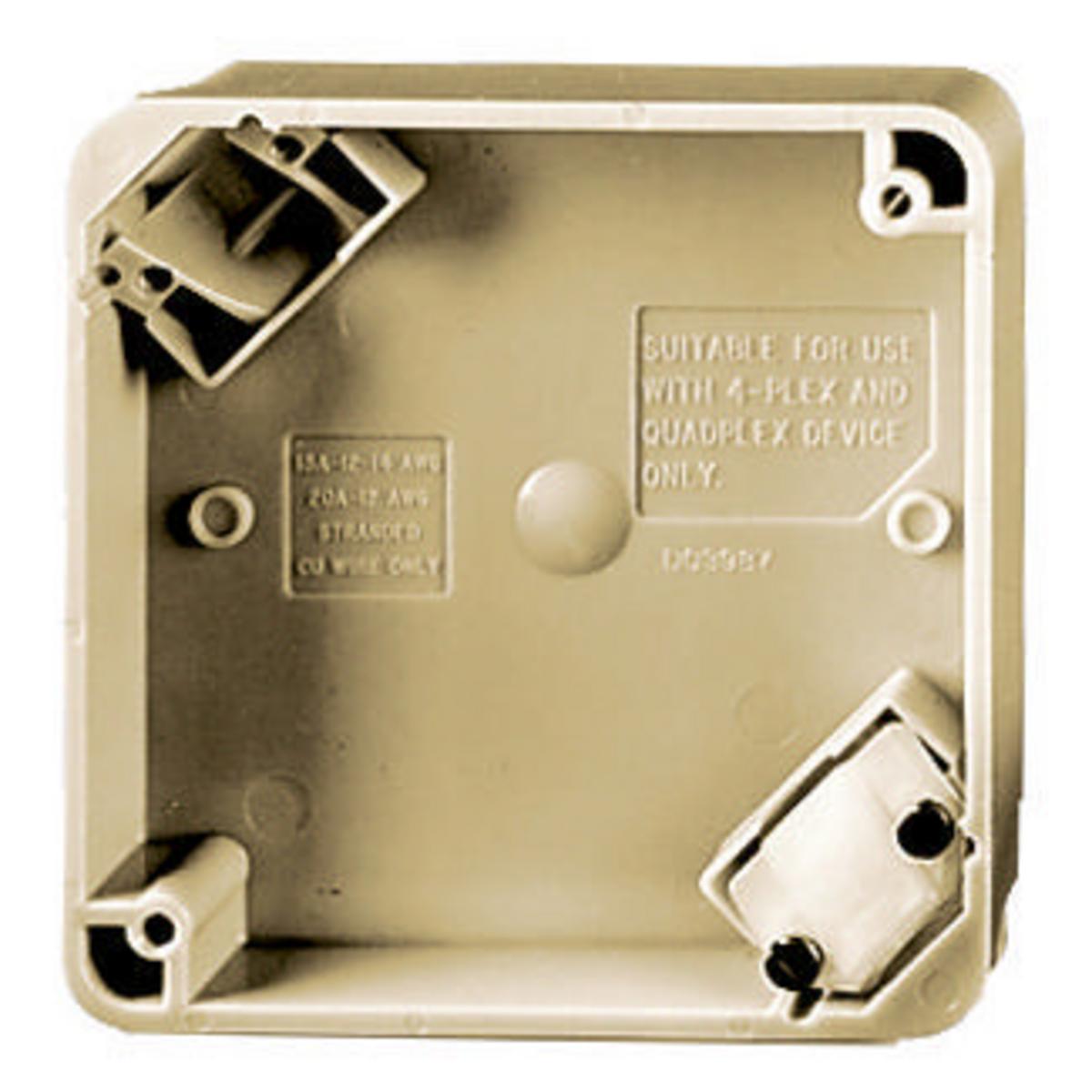 Hubbell HBL4PBI 4 Inch Ivory Straight Blade Device 4-Plex Portable Box