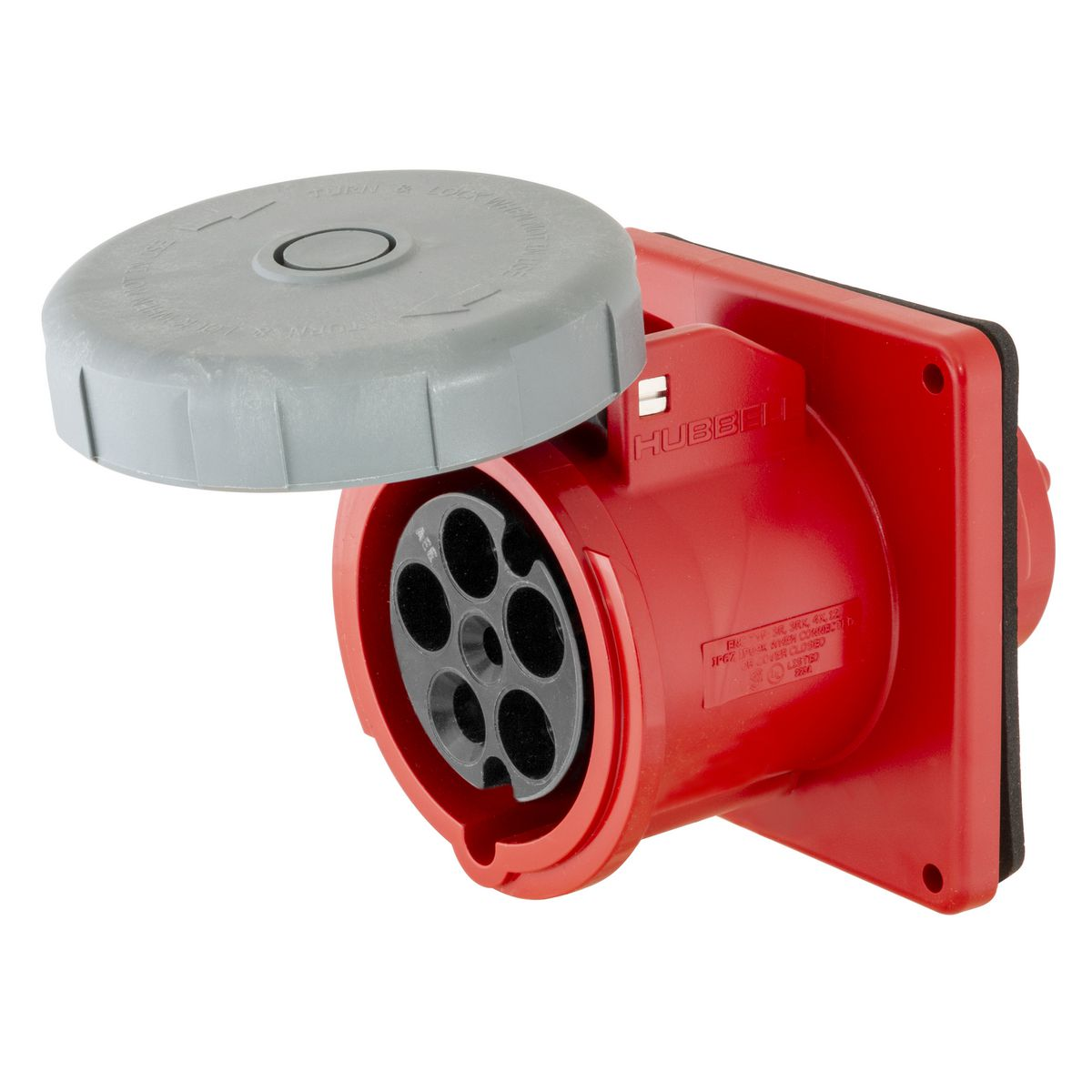Hubbell HBL5100R7W 100 Amp 277/480 Volt 4-Pole 5-Wire Red IEC Pin and Sleeve Receptacle