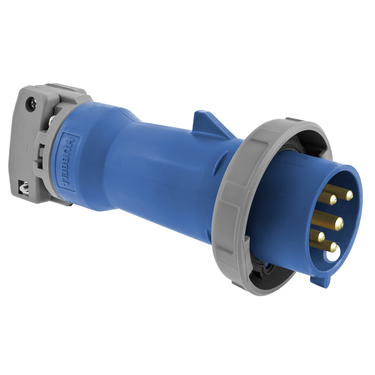 Hubbell HBL520P9W 20 Amp 120/208 Volt 4-Pole 5-Wire Blue Watertight IEC Pin and Sleeve Plug