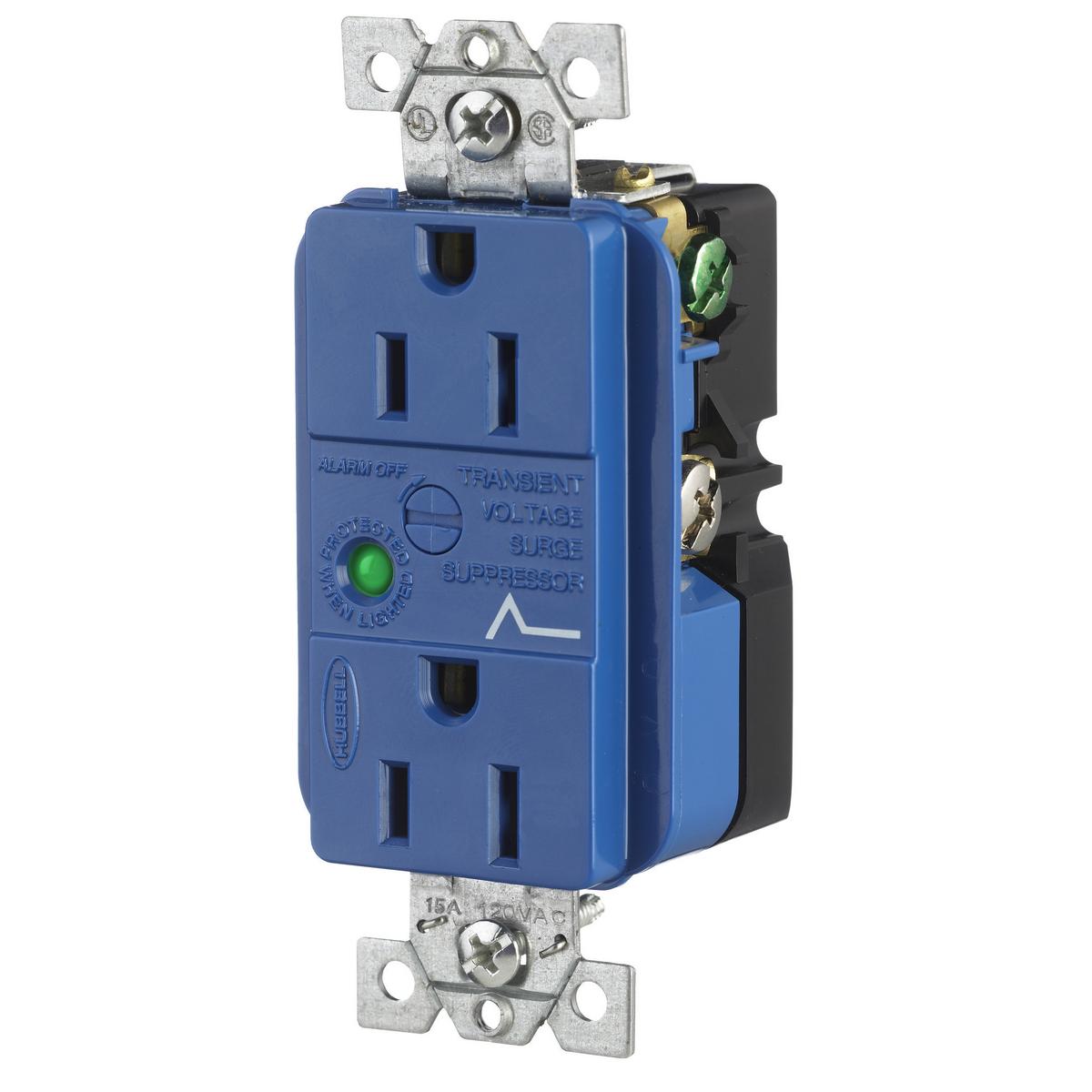 Hubbell HBL5260SA 15 Amp 125 Volt NEMA 5-15R Blue Surge Protection Device Duplex Receptacle