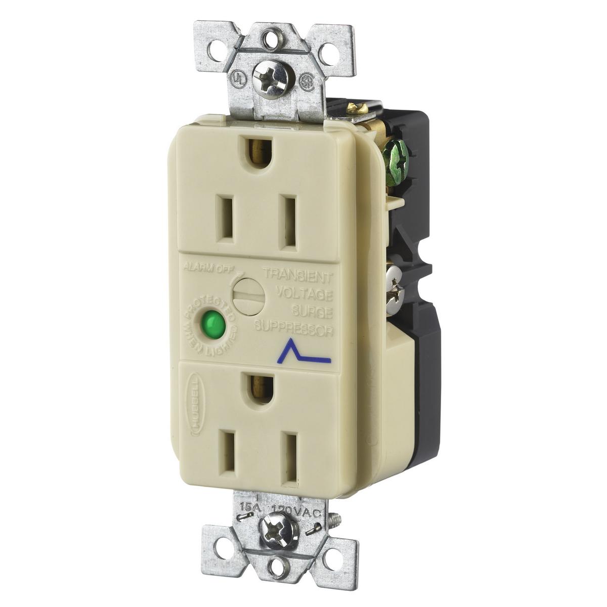 Hubbell HBL5262ISA 15 Amp 125 Volt 2-Pole 3-Wire NEMA 5-15R Ivory Duplex Surge Suppression Receptacle