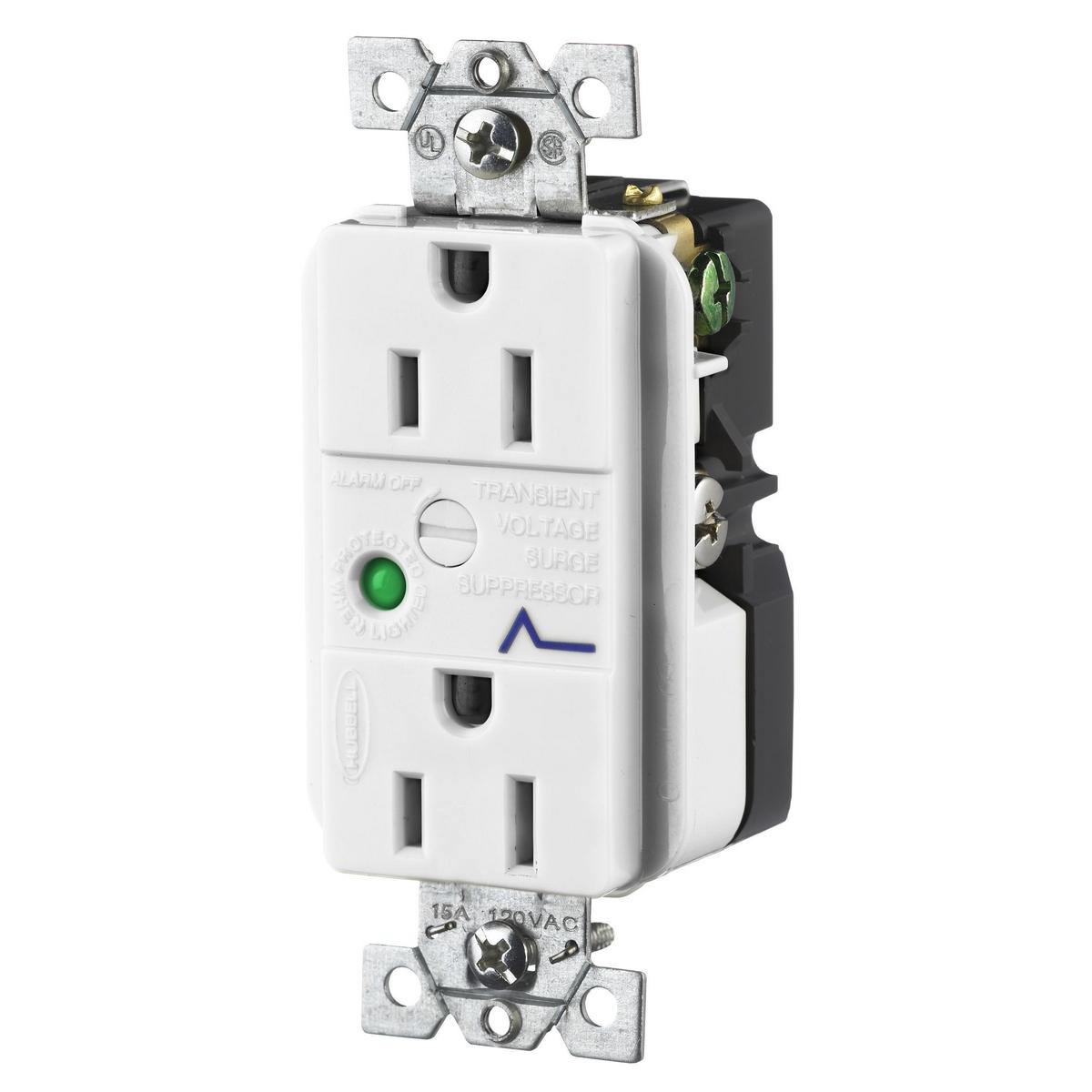 Hubbell HBL5262WSA 15 Amp 125 Volt 2-Pole 3-Wire NEMA 5-15R Office White Duplex Surge Suppression Receptacle