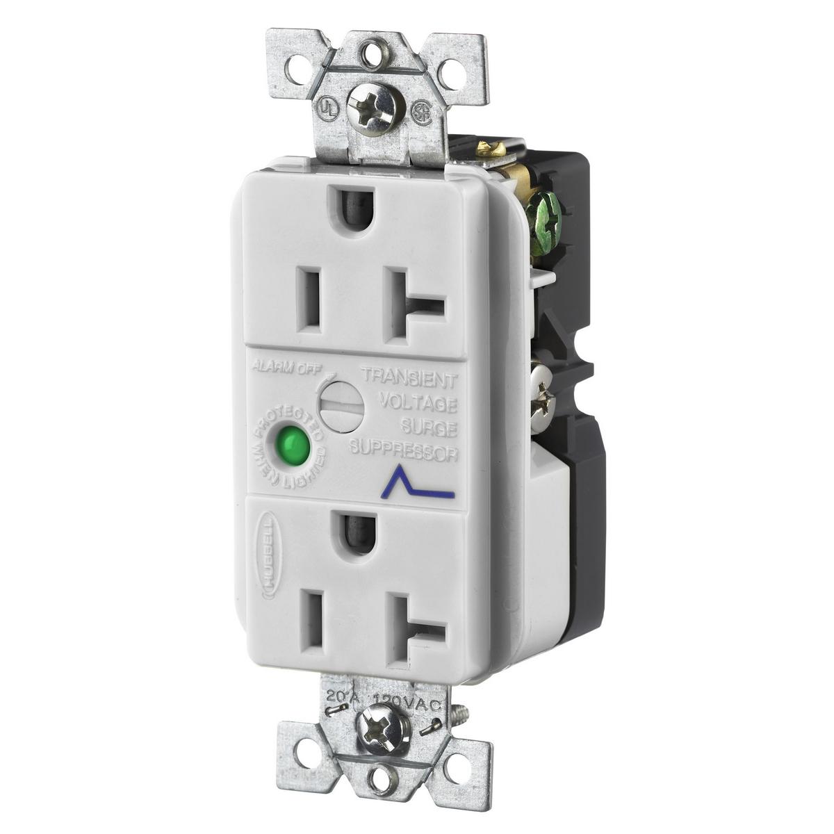 Hubbell HBL5360OWSA 20 Amp 125 Volt 2-Pole 3-Wire NEMA 5-20R Office White Duplex Surge Suppression Receptacle