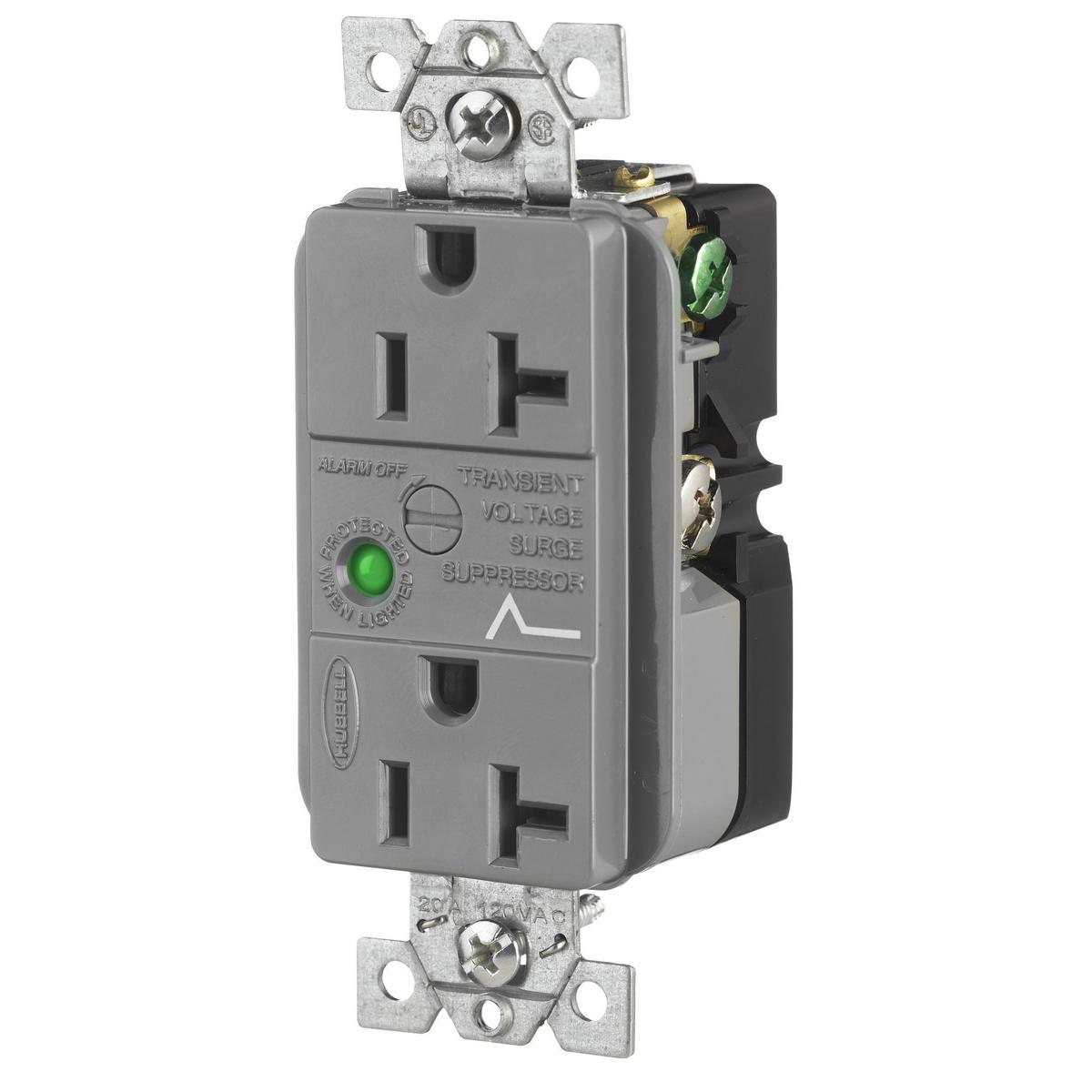 Hubbell HBL5362GYSA 20 Amp 125 Volt 2-Pole 3-Wire NEMA 5-20R Gray Duplex Surge Suppression Receptacle