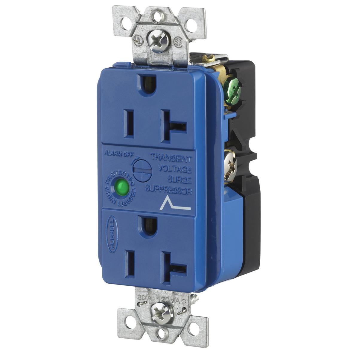 Hubbell HBL5362SA 20 Amp 125 Volt 2-Pole 3-Wire NEMA 5-20R Blue Duplex Surge Suppression Receptacle