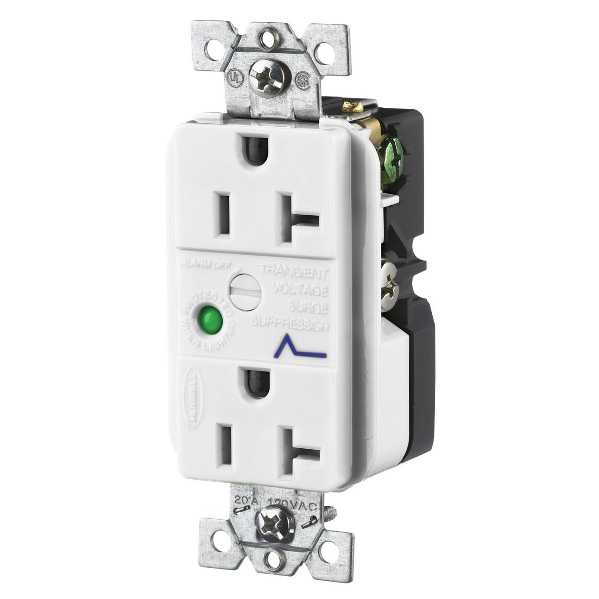 Hubbell HBL5362WSA 20 Amp 125 Volt 2-Pole 3-Wire NEMA 5-20R White Duplex Surge Suppression Receptacle