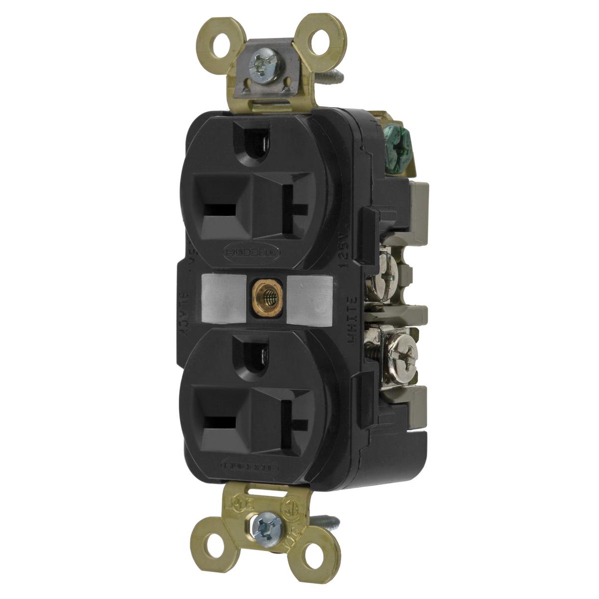 Hubbell HBL5462BKDUP Receptacle, IND GRD, 20A 250V, 6-20R, BK