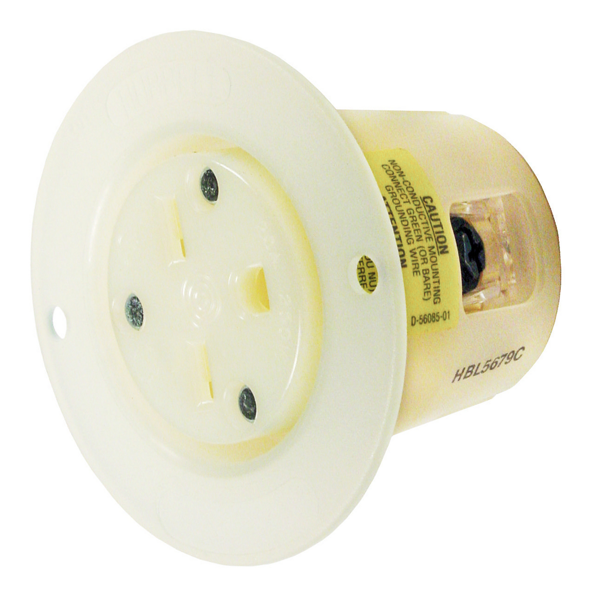 Hubbell HBL5679CFlanged-Receptacle, 15A 250V, 6-15P, WH
