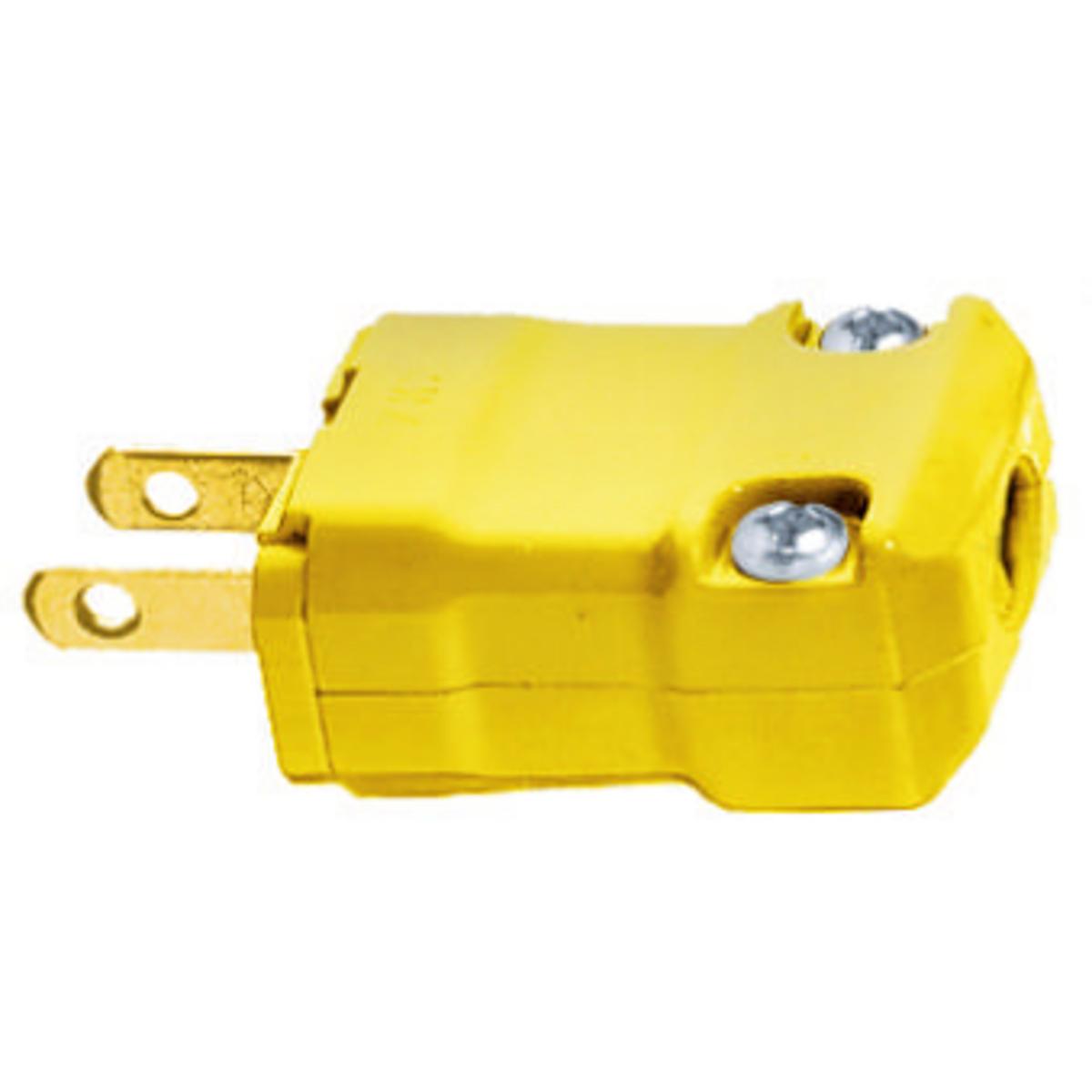 Hubbell HBL5866VY 15 Amp 125 Volt 2-Pole 2-Wire NEMA 1-15P Yellow Nylon Straight Blade Plug