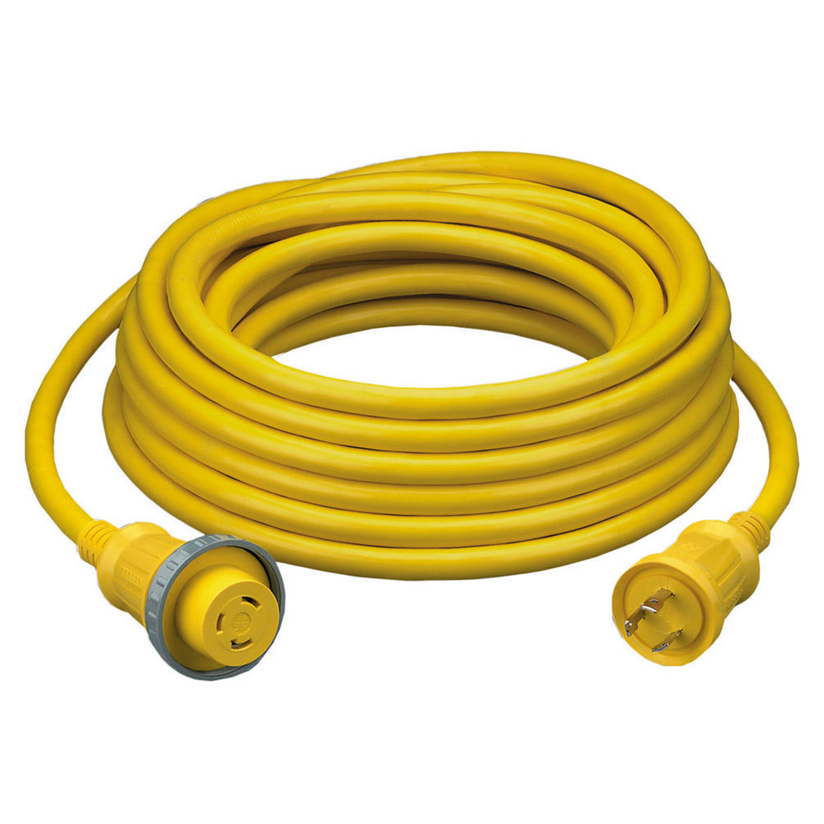 Hubbell HBL61CM08 50 Foot 30 Amp 125 Volt L5-30R Yellow Shore Power Cable Set