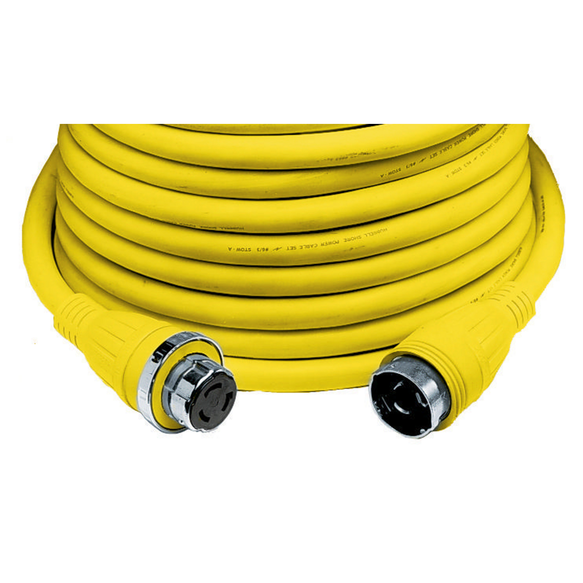 Hubbell HBL61CM53 Marine CABLE, 50', 50A 125V, YL