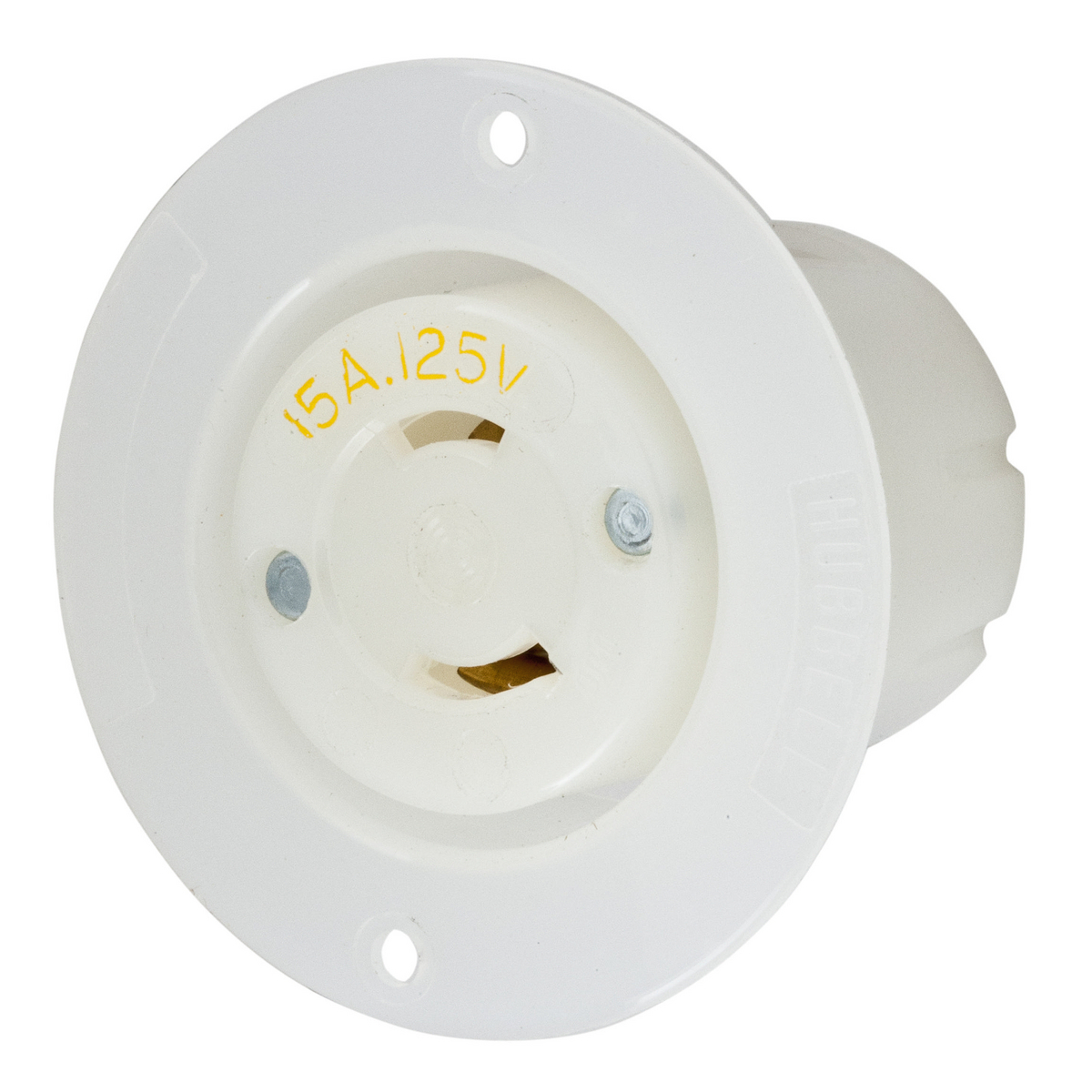 Hubbell HBL7526C 15 Amp 125 Volt 2-Pole 2-Wire NEMA L1-15R White Locking Flanged Receptacle