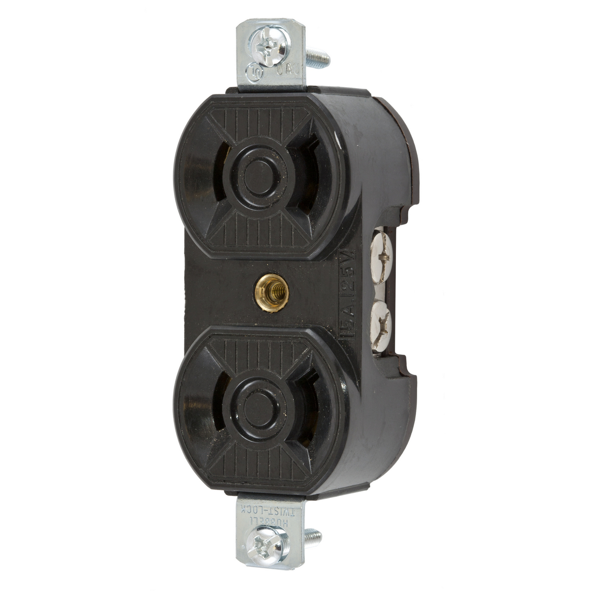 Hubbell HBL7540 15 Amp 125 Volt 2-Pole 2-Wire NEMA L1-15R Black Locking Duplex Receptacle
