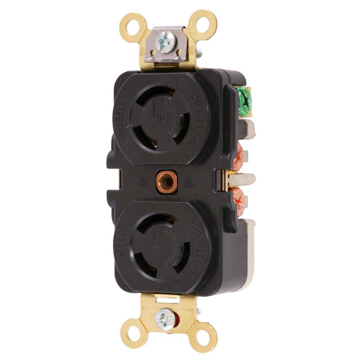Hubbell HBL7580G 10 Amp 250 VAC 2-Pole 3-Wire Non-NEMA Black Duplex Locking Receptacle