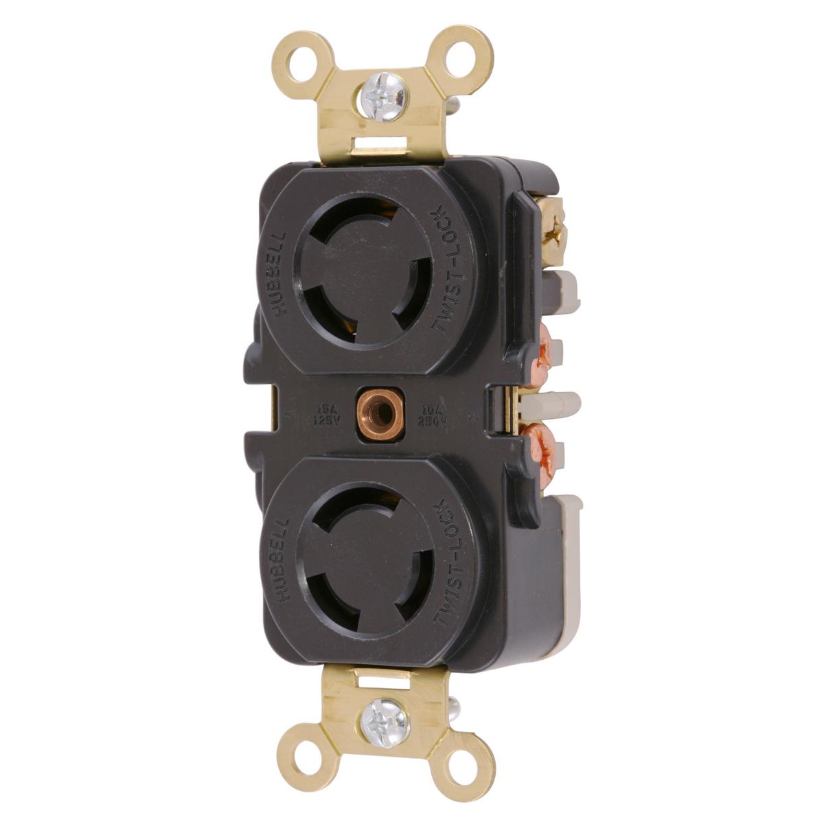 Hubbell HBL7580 10 Amp 250 VAC 3-Pole 3-Wire Non-NEMA Black Duplex Locking Receptacle
