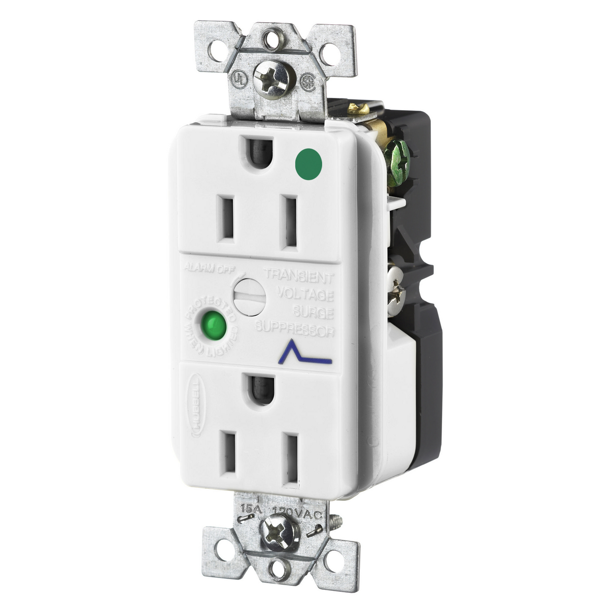 Hubbell HBL8262WSADUP SPD Receptacle, HG, 15A 125V, 5-15R, WH