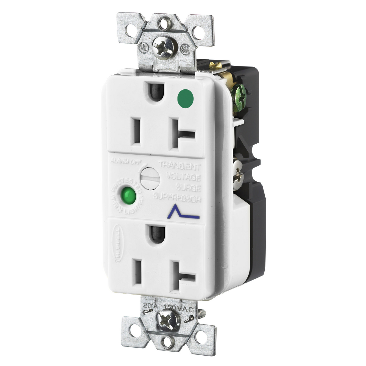Hubbell HBL8362WSA 20 Amp 125 Volt NEMA 5-20R White Hospital Grade Surge Protection Device Duplex Receptacle