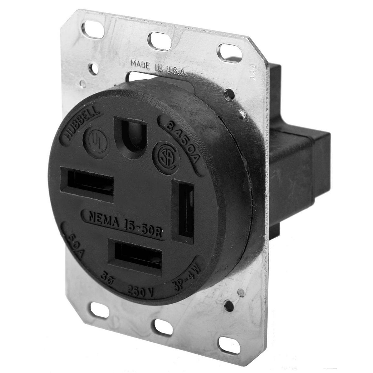 Hubbell HBL8450A 50 Amp 250 Volt 3-Pole 4-Wire NEMA 15-50R Black Single Straight Blade Receptacle