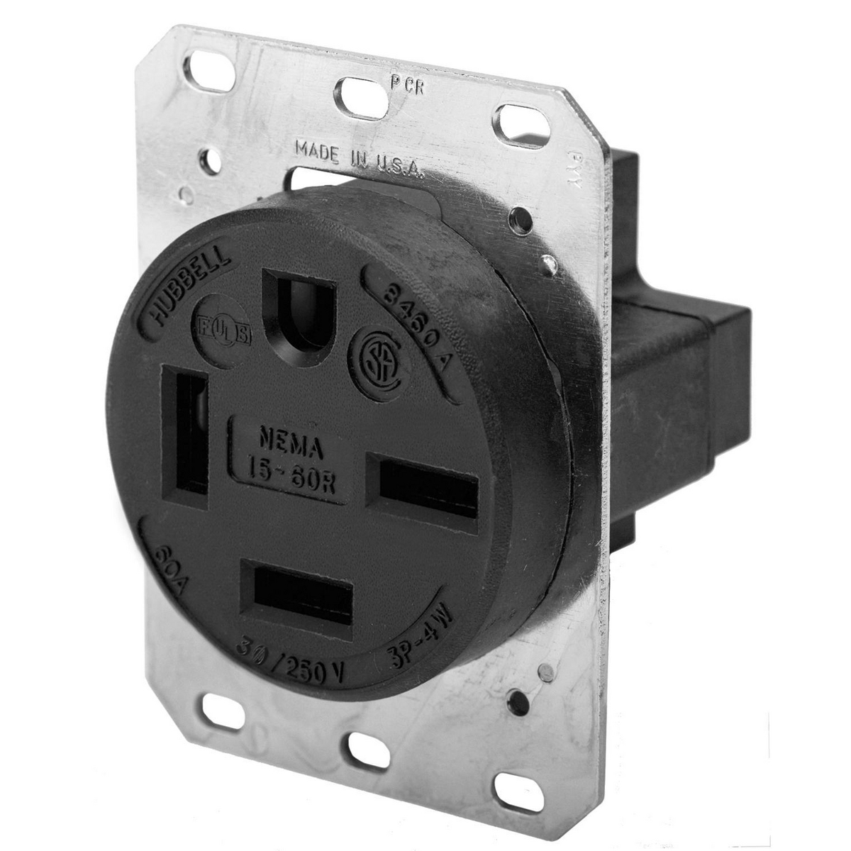 Hubbell HBL8460A 60 Amp 250 Volt 3-Pole 4-Wire NEMA 15-60R Black Single Straight Blade Receptacle