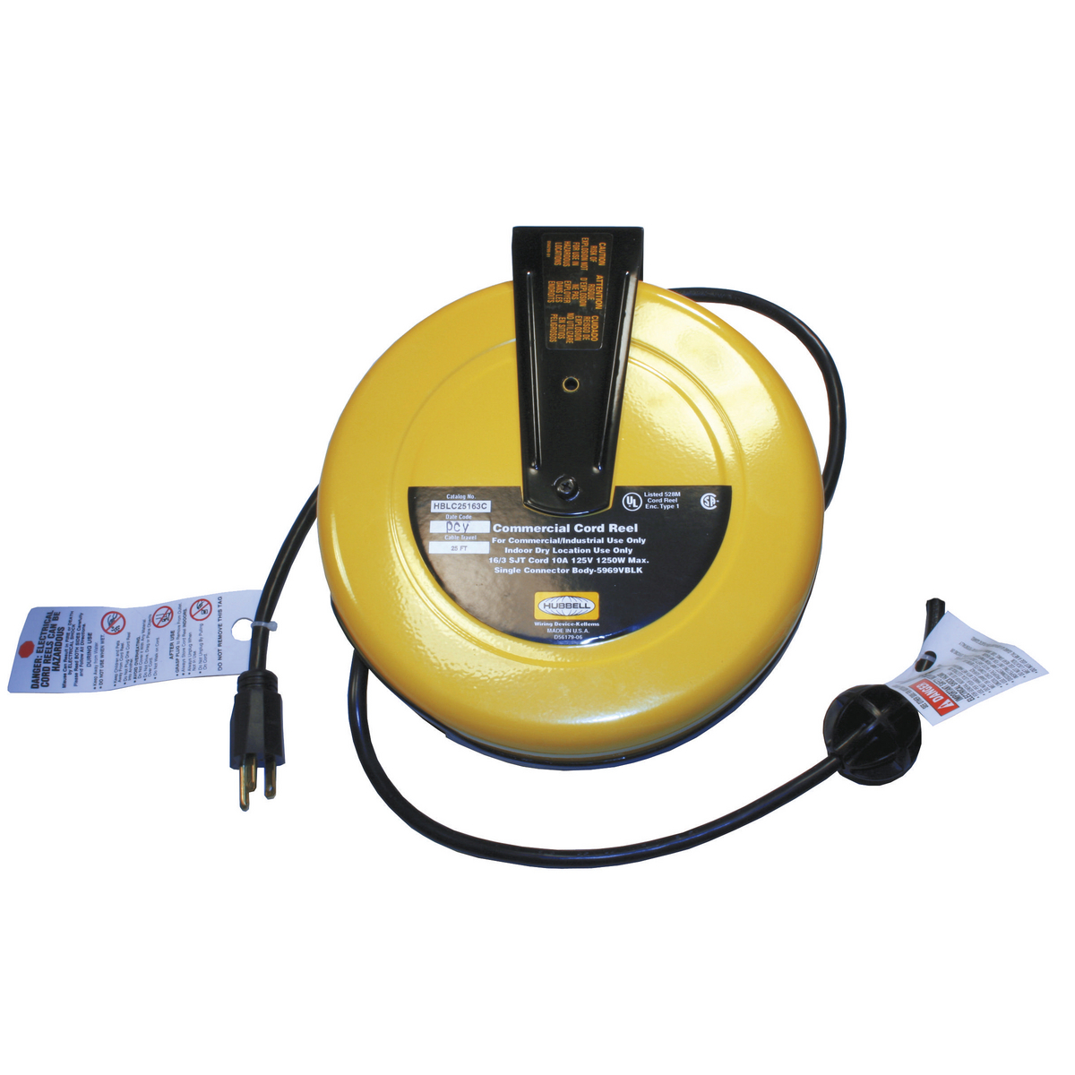 Hubbell HBLC25163 10 Amp 125 Volt 25 Foot Yellow Commercial Cord Reel