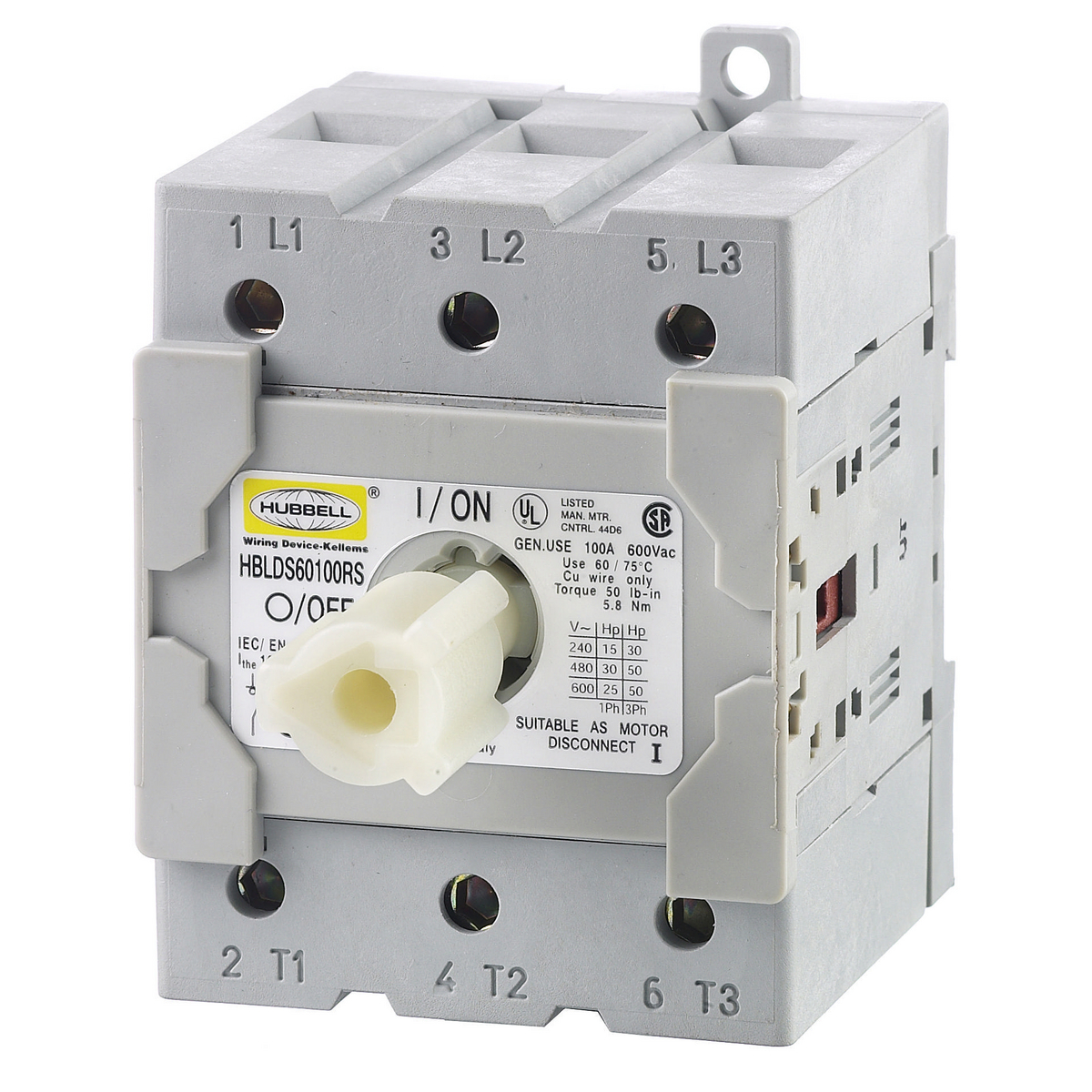 Hubbell HBLDS60100RS REP DISCO SWITCH, 60A,