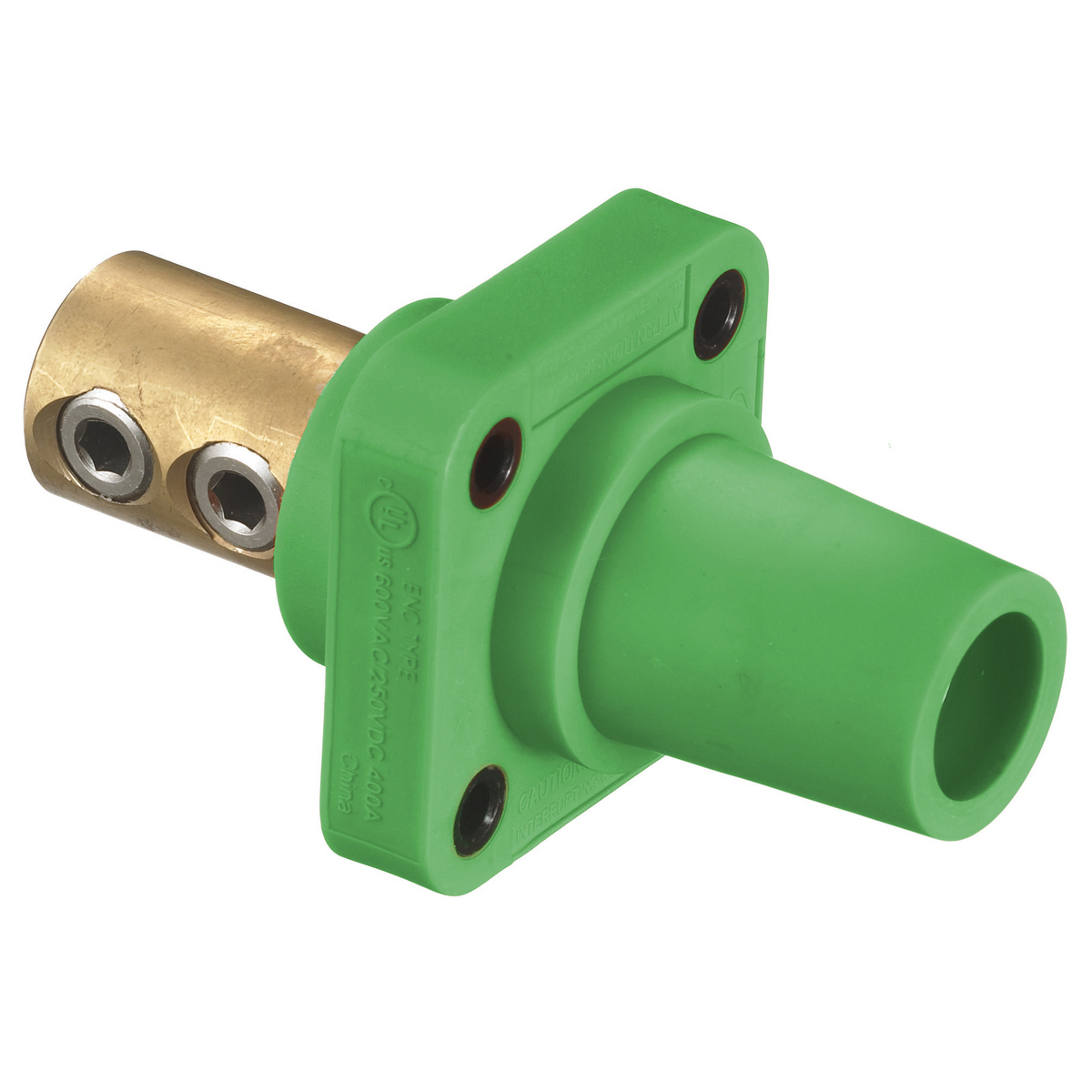 Hubbell HBLFRGN 400 Amp 1-Pole Green Double Set Screw FeMale Cam Type Receptacle