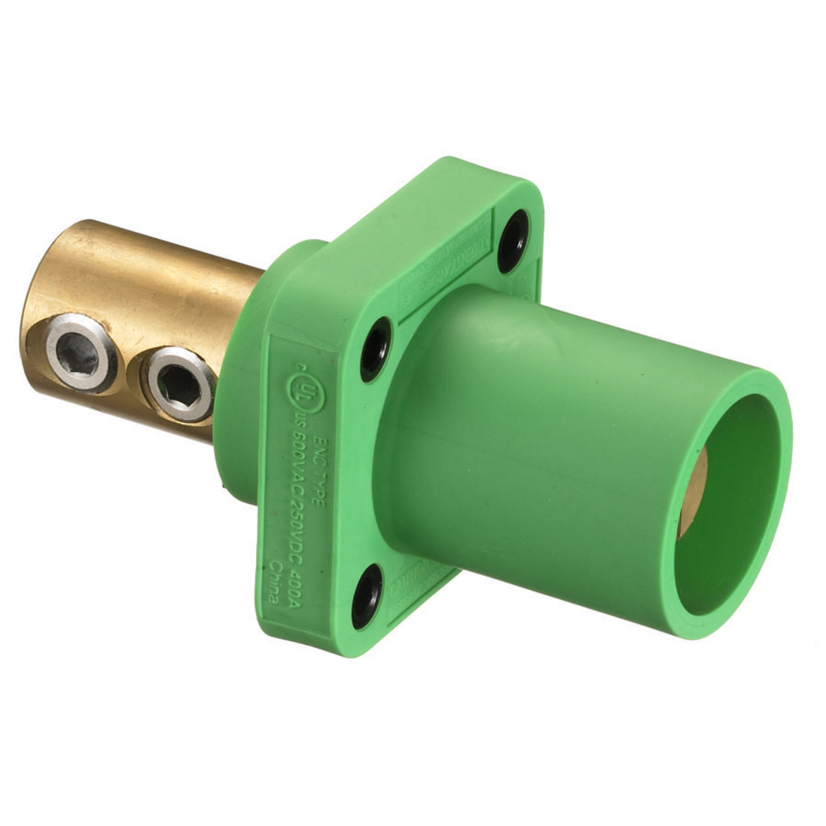 Hubbell HBLMRGN 400 Amp 1-Pole Green Double Set Screw Male Cam Type Receptacle