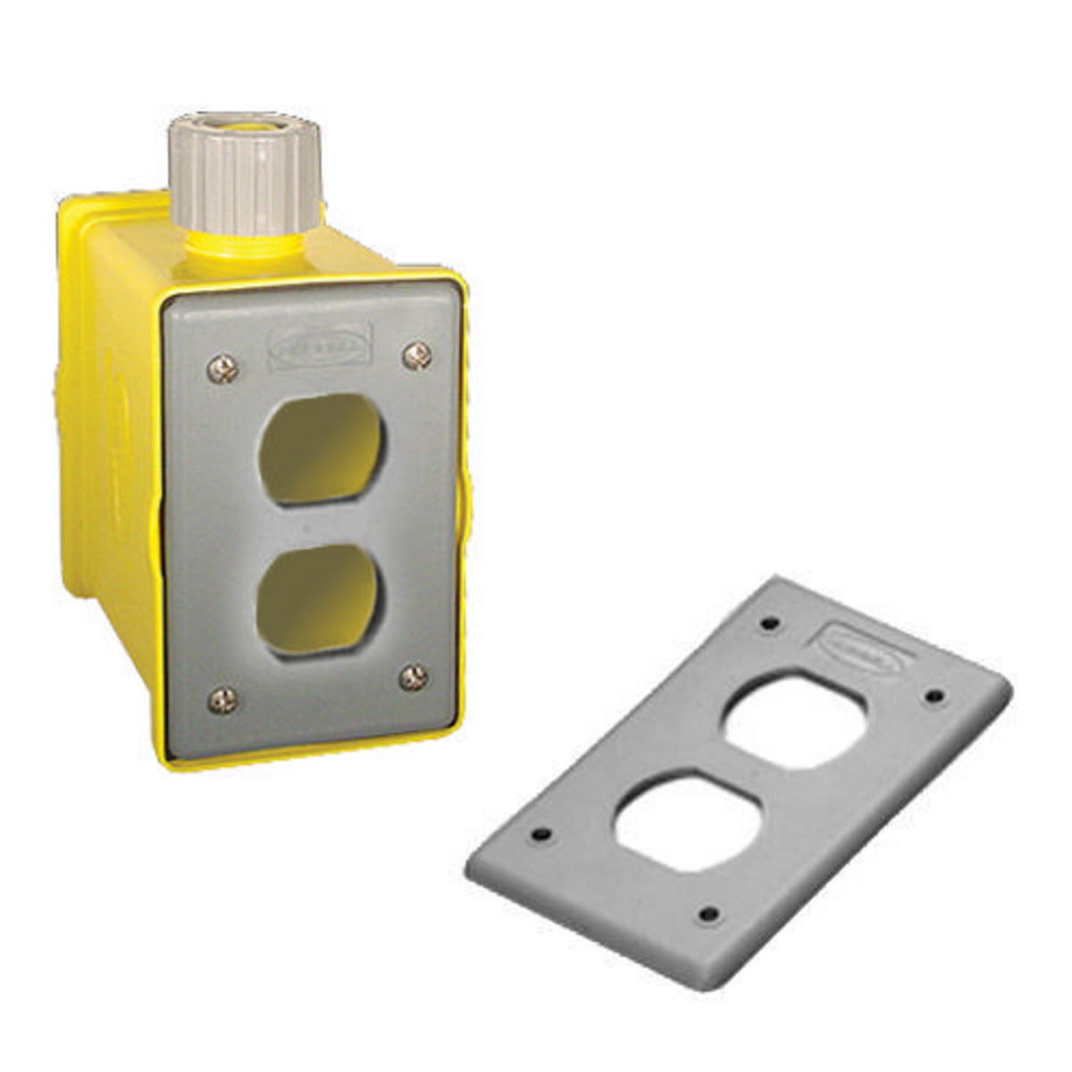Hubbell HBLPOB1D Yellow Heavy Duty Portable Outlet Box
