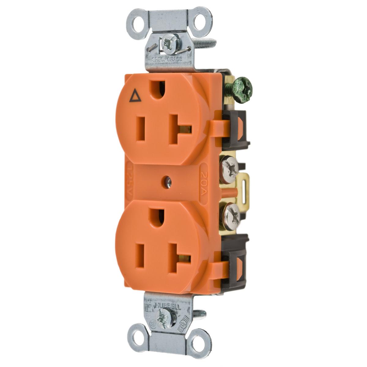 Hubbell IG20CR 20 Amp 125 Volt 2-Pole 3-Wire NEMA 5-20R Orange Isolated Ground Straight Blade Duplex Receptacle
