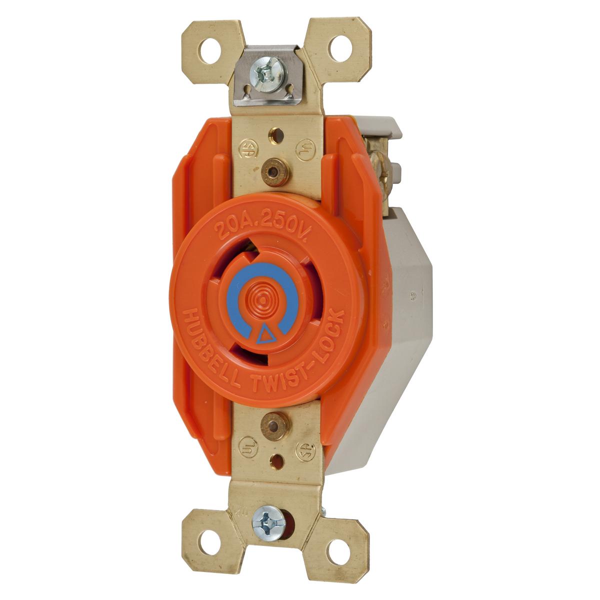 Hubbell IG2320 20 Amp 250 Volt 2-Pole 3-Wire NEMA L6-20R Orange Isolated Ground Locking Single Receptacle